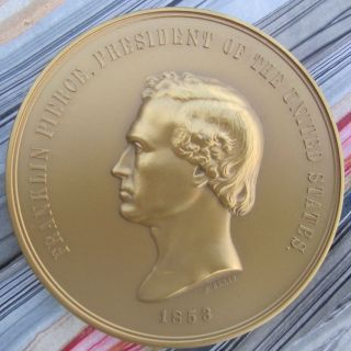 "President Franklin Pierce Peace & Friendship Medal 3"" Bronze,  7.  6 Oz,  215 G photo"