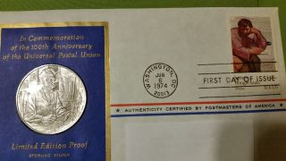 . 74 Troy.  925 Sterling Medallic Fdc 7 1974 And Stamp Universal Postal Union photo