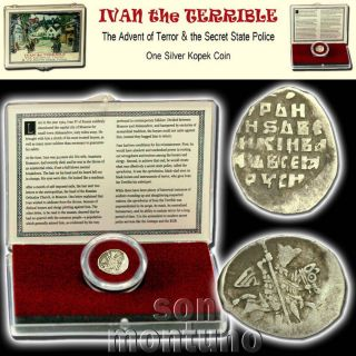 Ivan Iv The Terrible Medieval Russian Silver Empire Coin In Display Box With photo