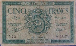Algeria 5 Franc Banknote photo
