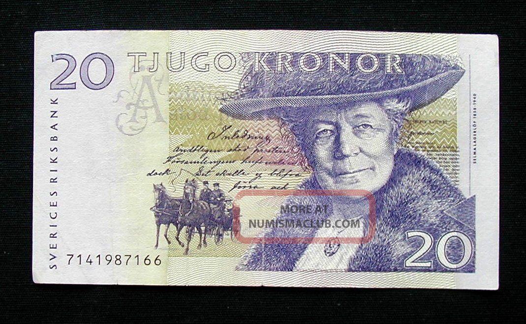 1997 Sweden Sverige Banknote 20 Kronor Vf Europe photo