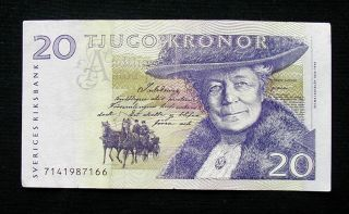 1997 Sweden Sverige Banknote 20 Kronor Vf photo