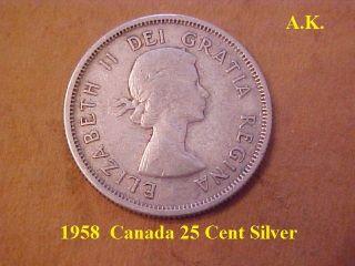 1958 Canada 25 Cent Silver photo