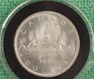 Uncirculated 1965 Canadian Silver Dollar In Airtite Holder photo