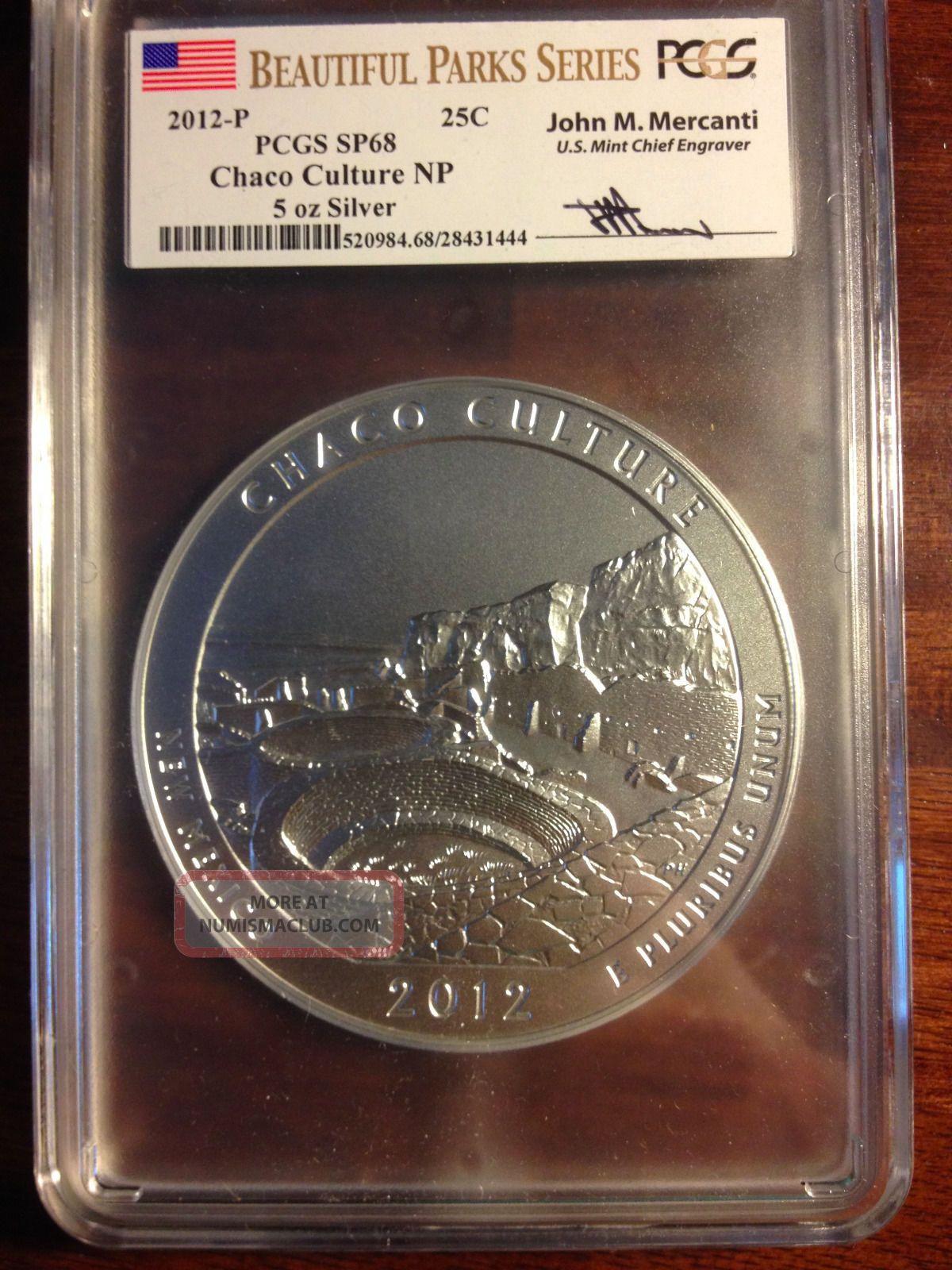 2012 - P Chaco Culture Np 5 Oz Silver Pcgs Sp68 Mercanti Signature Silver photo