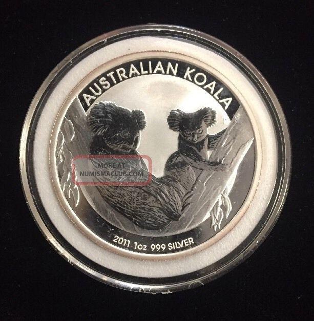 2011 - P $1 Australia Silver Koala 1oz.  999 With Hard Plastic Capsule Silver photo