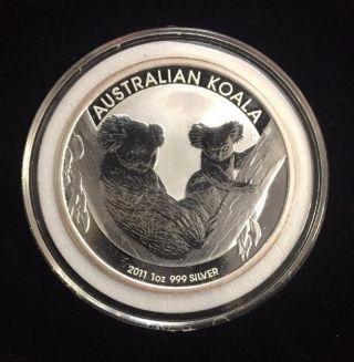 2011 - P $1 Australia Silver Koala 1oz.  999 With Hard Plastic Capsule photo
