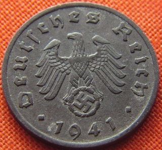 Ww2 German 1941 - F 1 Rp Reichspfennig 3rd Reich Zinc Nazi Coin (rl 1569) photo