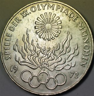 1972 D German 10 Marks Silver Coin Olympic Games Commemorative Flame Spiral Au photo