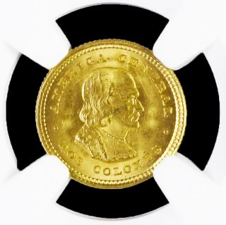 Costa Rica 2 Colones 1922 Gold Coin Cristobal Colon Ngc Ms 65 Km 139 photo