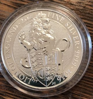 (2 Oz.  Silver Coin) 2016 Lion Of England 9999 Purest Ag (highly Collectible) photo