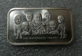 The Watergate Gang Nixon Vintage Collectible Bar 1 Troy Oz.  999 Fine Silver Rare photo