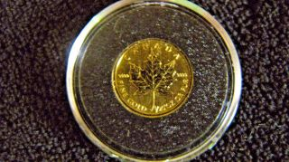 1990 1/20 Oz Gold Canadian Maple Leaf.  9999 Pure photo