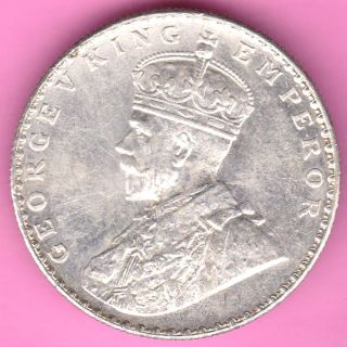 British India - 1912 - King George V - One Rupee - Rarest Silver Coin - 59 photo
