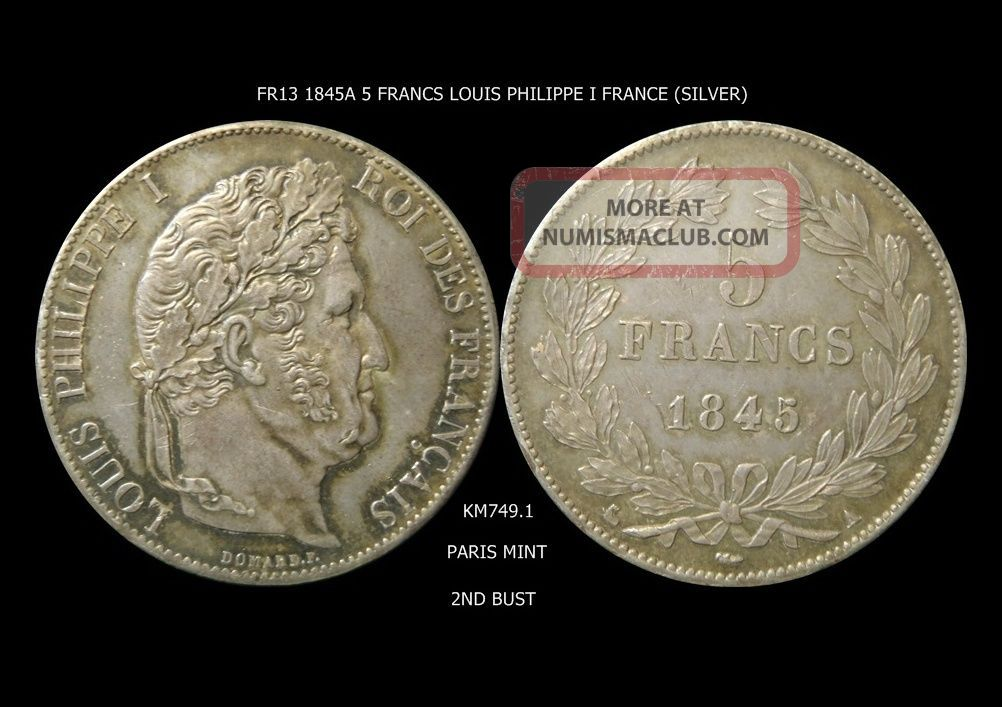 France 1845a 5 Francs Louis Philippe I Km 749.  1 France photo