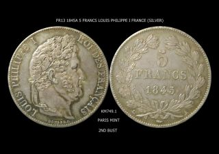 France 1845a 5 Francs Louis Philippe I Km 749.  1 photo