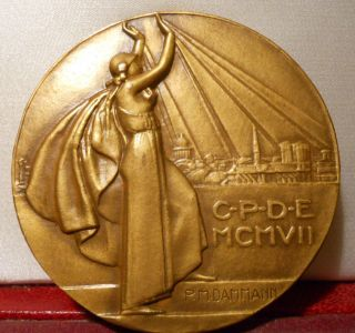 1932 France Art Deco Bronze Medal By Dammann photo
