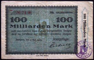 Saulgau 1923 2 - Digit Serial 100 Billion Mark Inflation Notgeld German Banknote photo