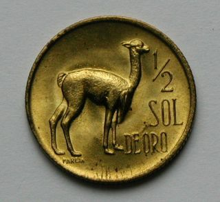 1969 Peru Brass Coin - 1/2 Sol - Unc Bright Lustre & Tone Spots - Alpaca Animal photo