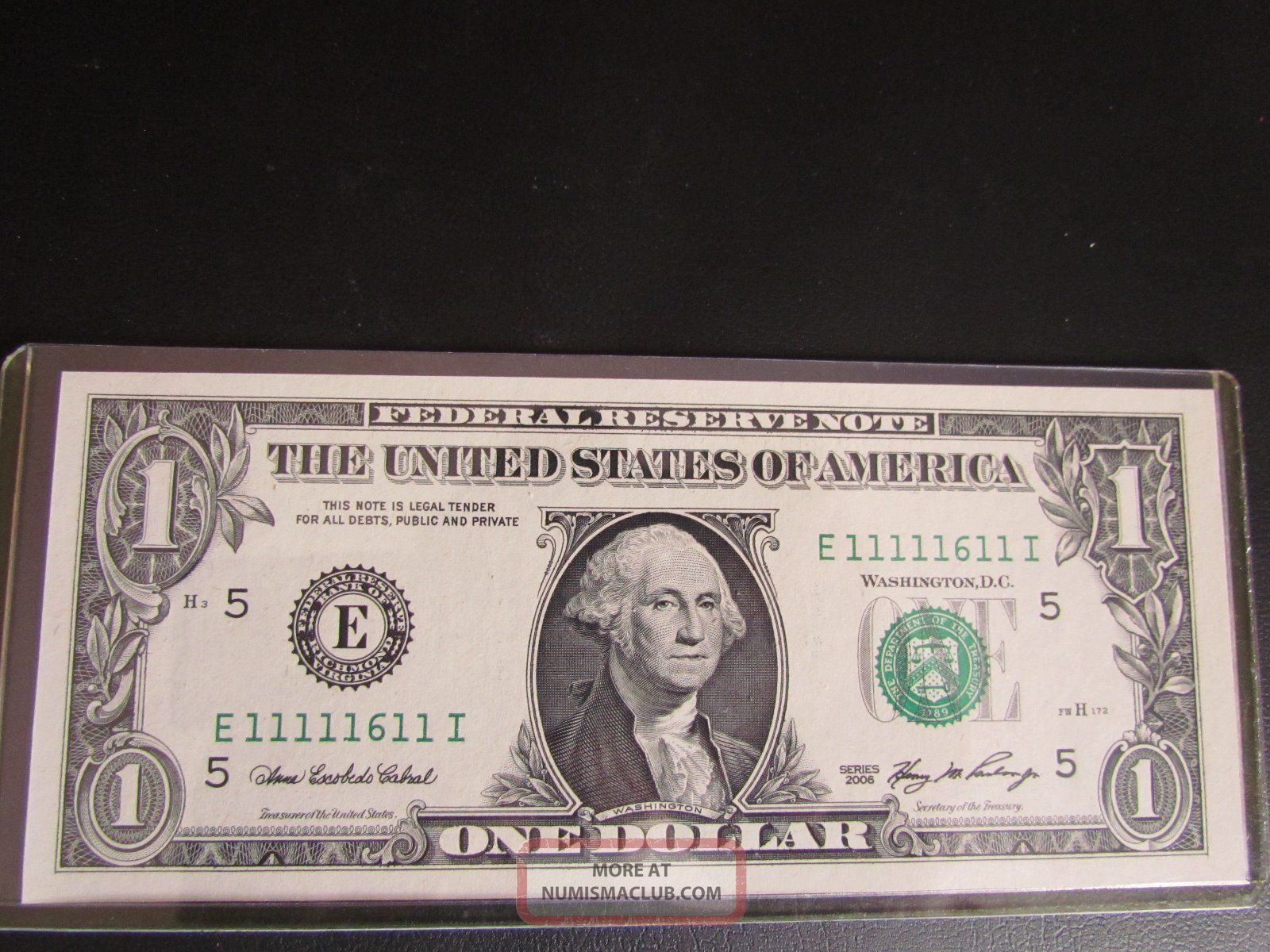 2006 $1 Note Uncirculated Fancy Near Solid Serial Number 1111 1611 Small Size Notes photo