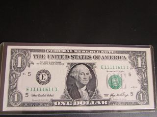 2006 $1 Note Uncirculated Fancy Near Solid Serial Number 1111 1611 photo