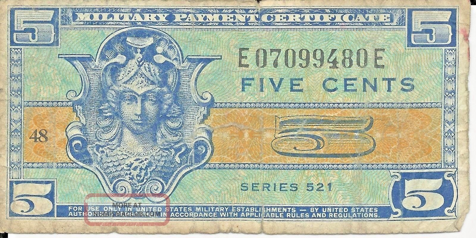 Mpc 1954 1958 Military Payment Certificate Mpc 5 Cents Series 521