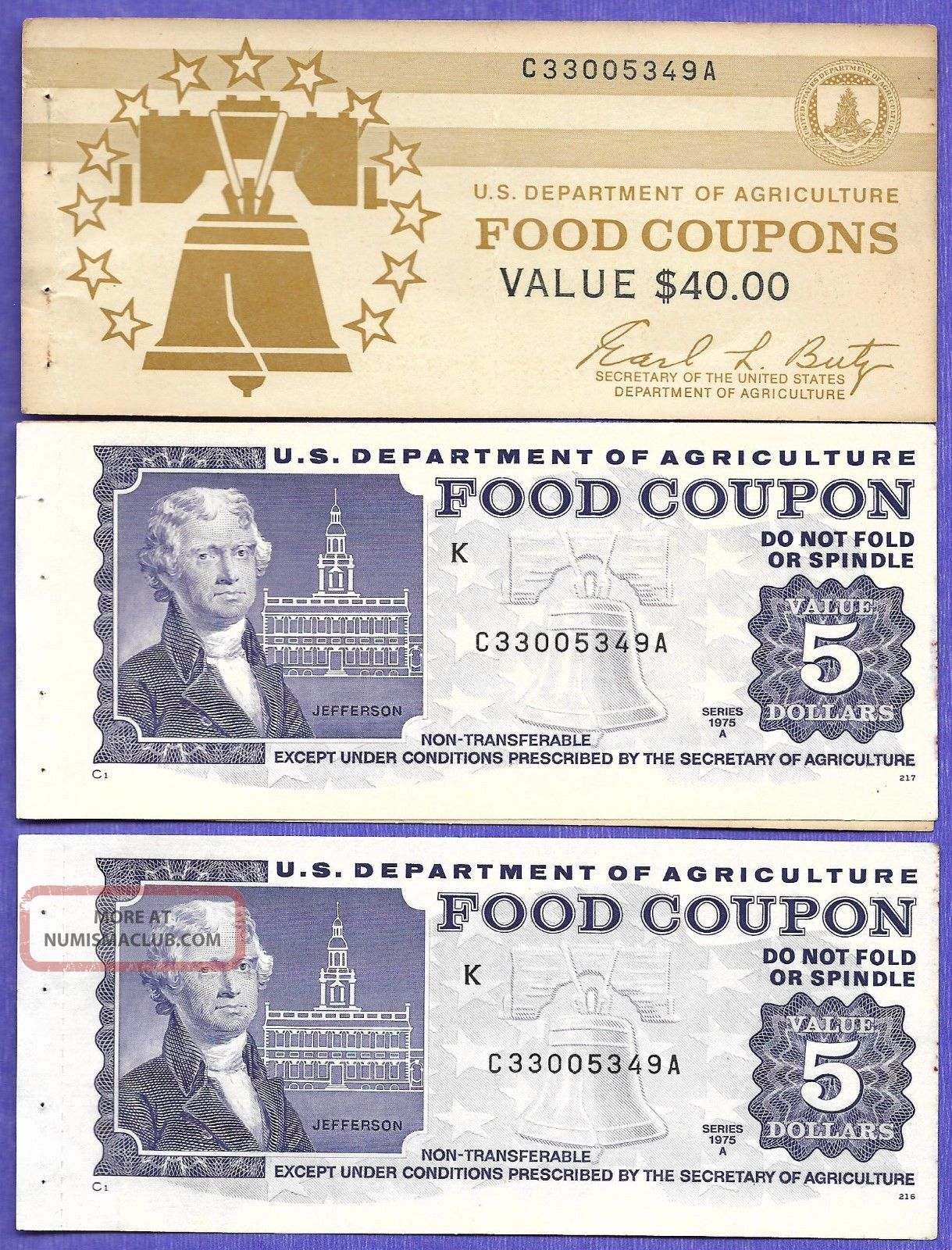 Food Stamp Coupon Usda Two 1975 A $5.  00 C33005349a Month Code K With End Tabs Paper Money: US photo
