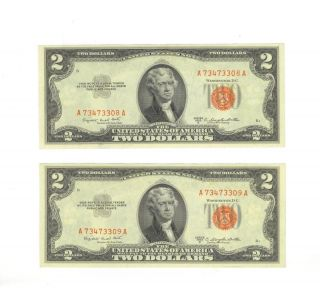 Us Series 1953 B Red Seal $2 (two Dollar Bill) (2) photo