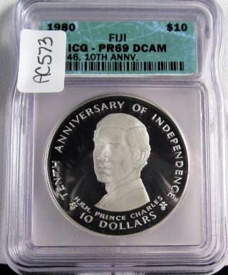 1980 Fiji 10th Anniversary $10 Silver Icg Pr69 Dcam Green Holder Low Ac573 photo