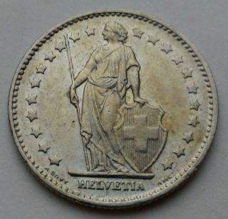 Switzerland 1 Franc 1974.  One Dollar Coin.  Helvetia. photo