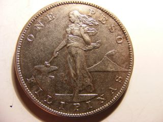 Philippines Silver 1 Peso,  1905 - S,  Xf photo