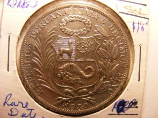 Peru Silver 1 Sol,  1930,  Scarce With Minatge Only 76,  000,  Au photo