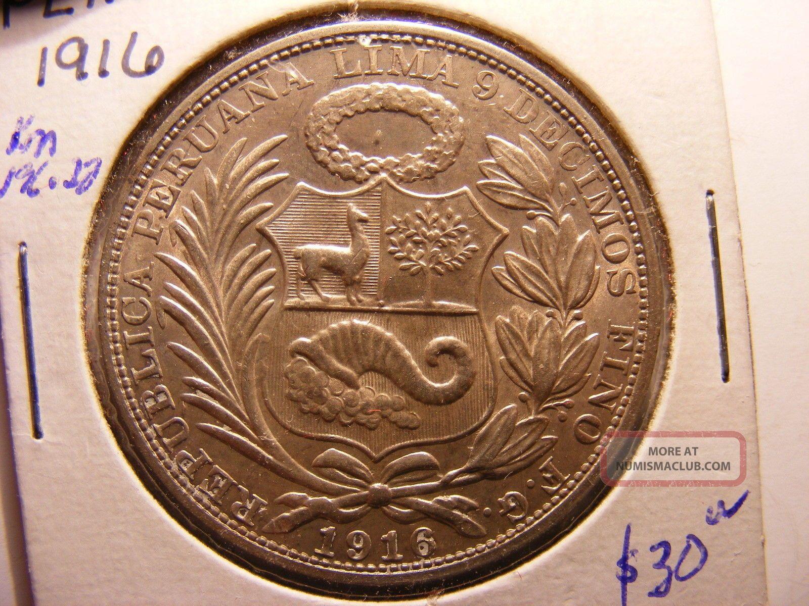 Peru Silver 1 Sol,  1916 - Fg,  Uncirculated Peru photo