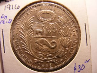Peru Silver 1 Sol,  1916 - Fg,  Uncirculated photo