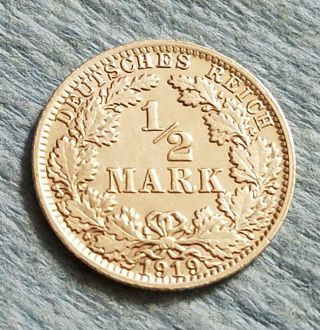 1919a Germany 1/2 Mark Silver Coin photo