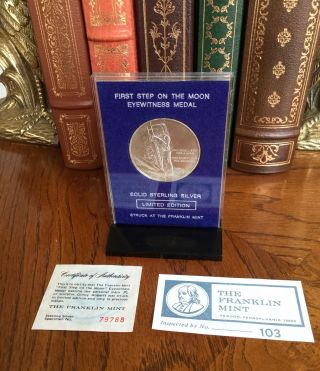 Franklin ' First Step On The Moon ' Eyewitness Sterling Silver Medal W/coa photo