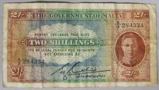 1942 Government Of Malta 2 Shillings Currency Note - - King George Vi,  Vf. photo