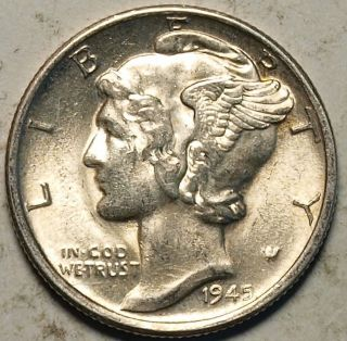 1945 S Us Silver Mercury Dime,  Near Gem (a) photo