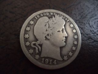 Real 1914 - D Barber Quarter 90 Silver photo