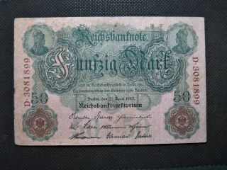 Old Bank Note Germany 50 Reichsbanknote 1910 Empire Nr.  D3081899 photo
