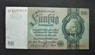Old Bank Note Of Nazi Germany 50 Reichsmark 1933 Third Reich Serial No Q4290915 photo