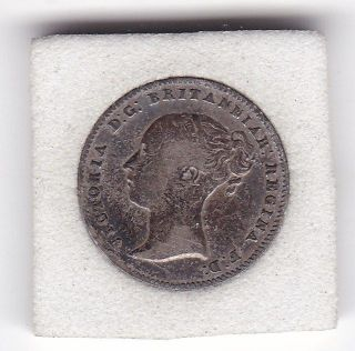 1856 Queen Victoria Threepence (3d) Solid Silver (92.  5) Coin photo