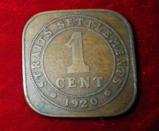 1920 Straits Settlements 1 Cent Square Coin George V King And Emperor Of India photo