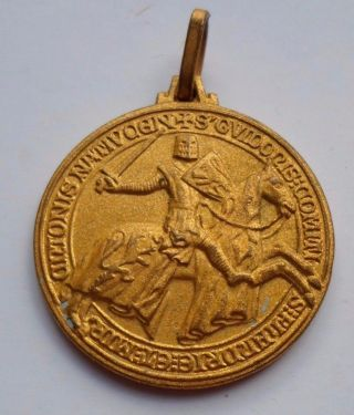 Knight On Horseback / 1971 Belgian Jumping Horse Contest Prize Bronze Medal photo
