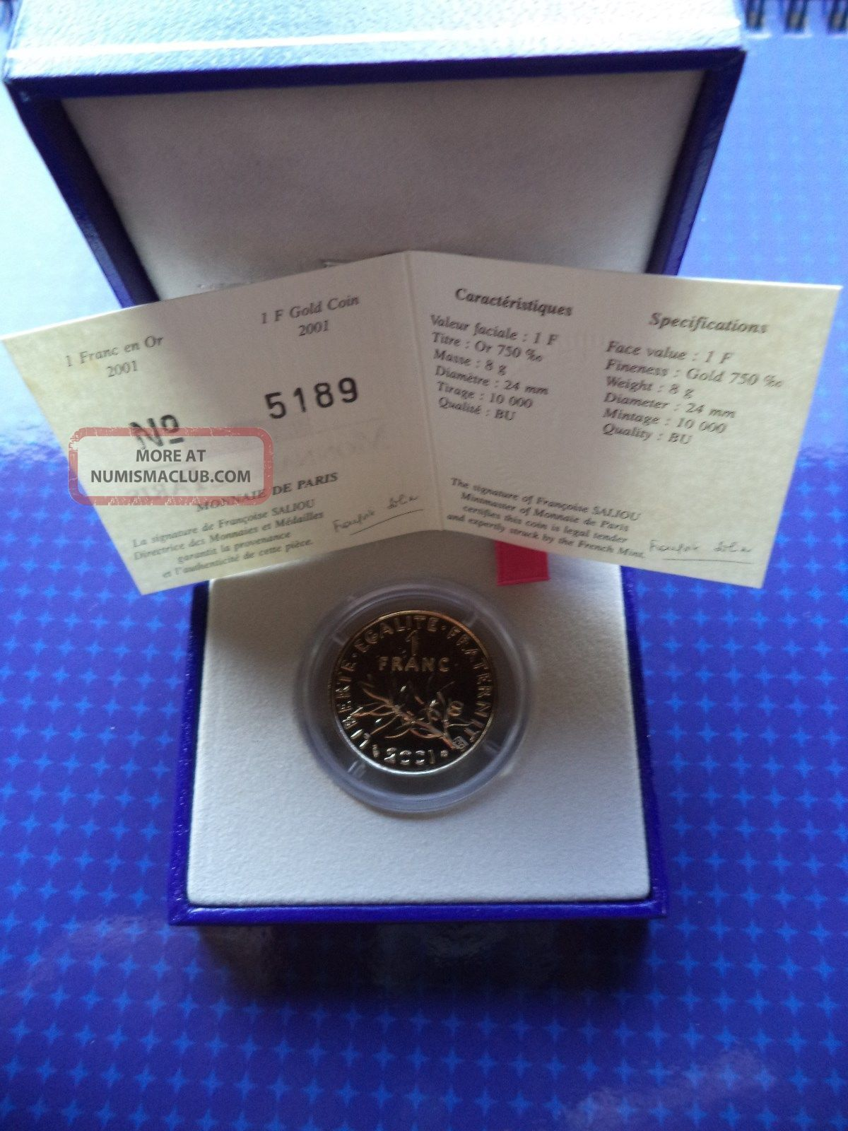 1 Franc En Or 2001 / 1 Gold Franc 2001 - 8gr - Monnaie Paris Europe photo