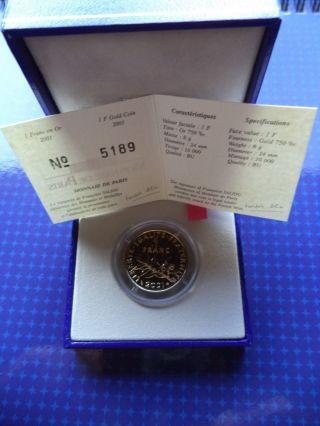 1 Franc En Or 2001 / 1 Gold Franc 2001 - 8gr - Monnaie Paris photo