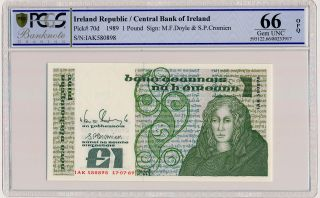 Central Bank Of Ireland Ireland Republic 1 Pound 1989 Pcgs 66opq photo