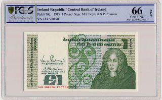 Central Bank Of Ireland Ireland Republic 1 Pound 1989 Pcgs 66opq photo