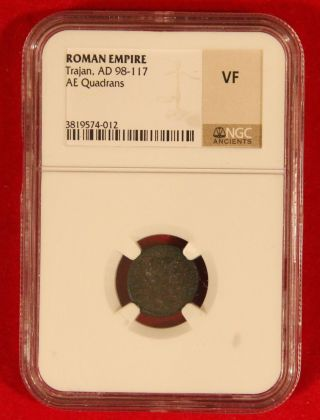 Ancient Roman Empire Trajan 98 - 117 Ae Quadrans Ngc Very Fine photo