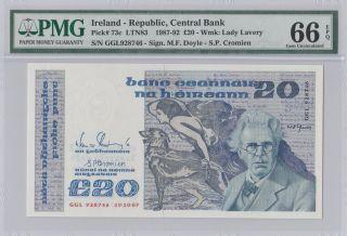 1987 - 92 £20 Pounds Ireland Pmg 66epq Gem Unc photo